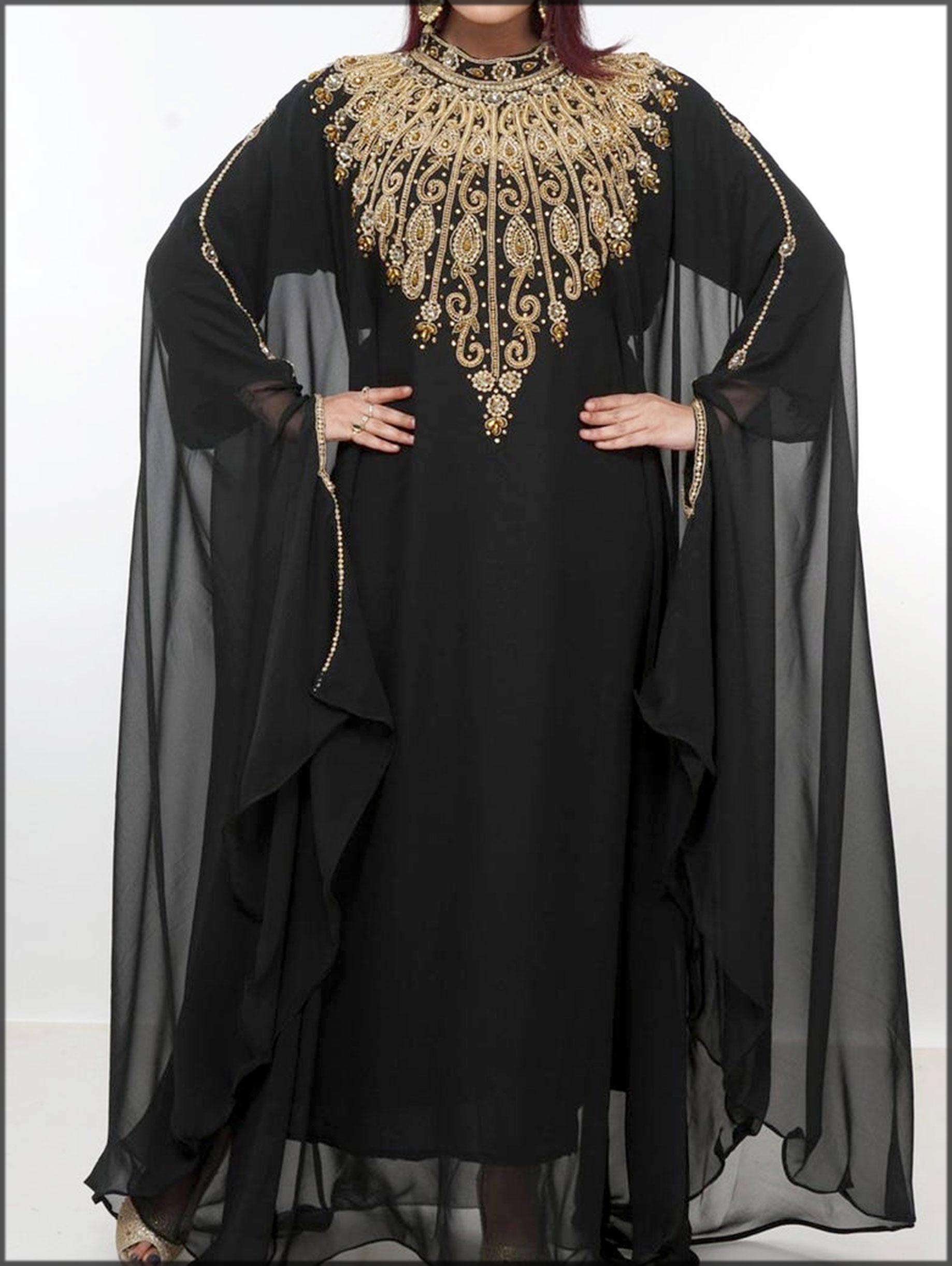 Black abaya dress with embroidery