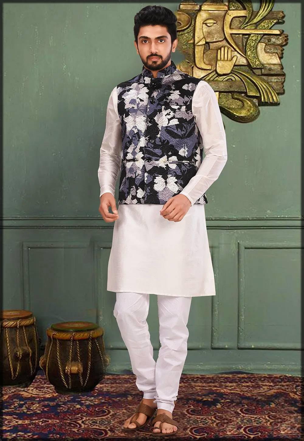 Black and White contrast Kurta Pajama with Jacket