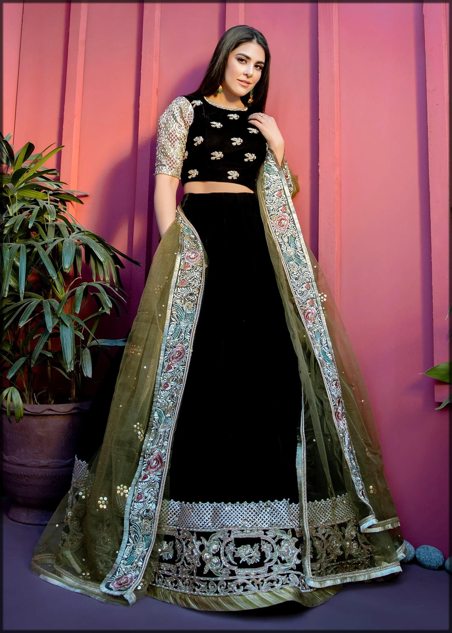 Black stylish lehenga choli for walima