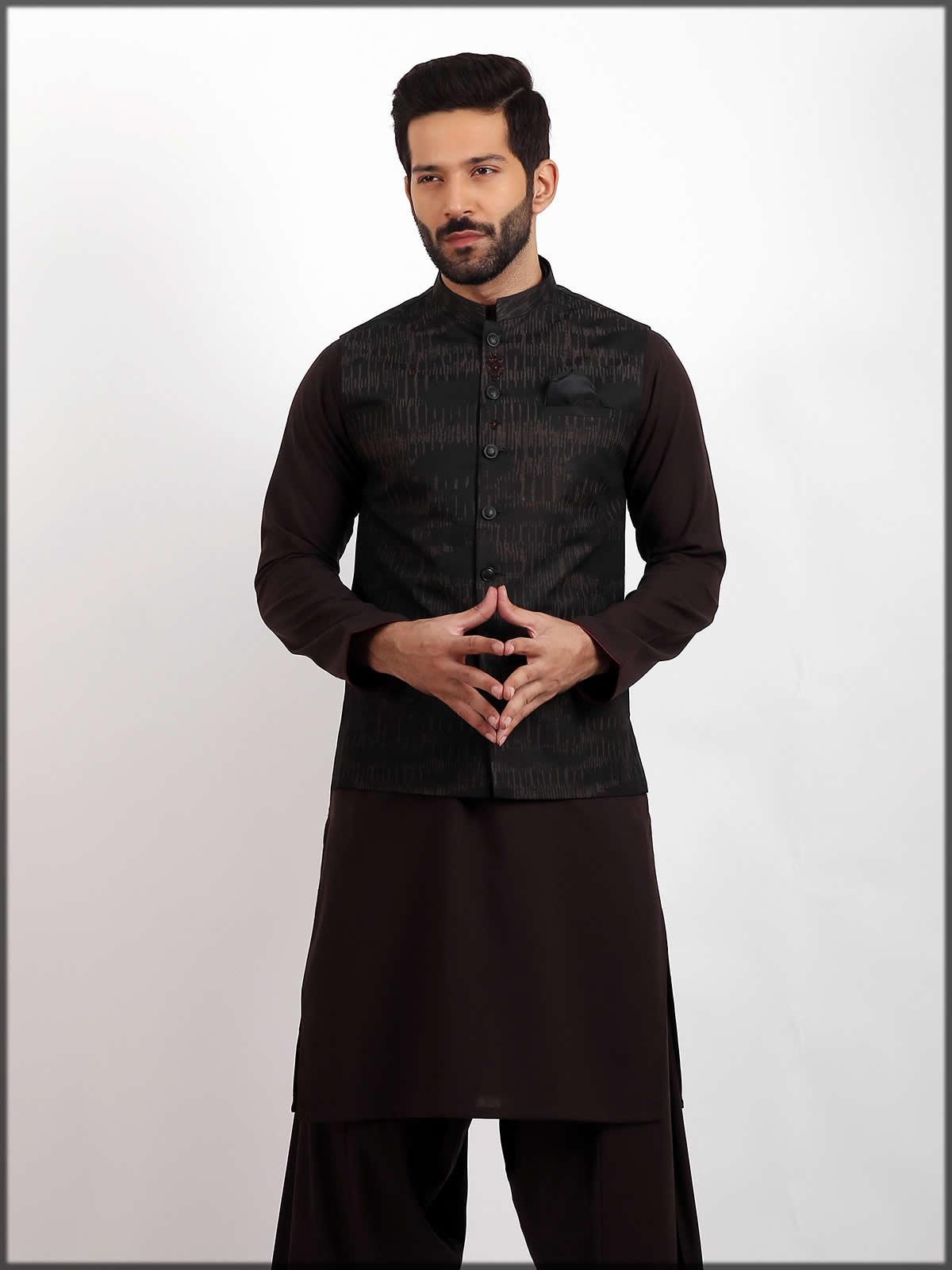 Black waistcoat for men by eden robe