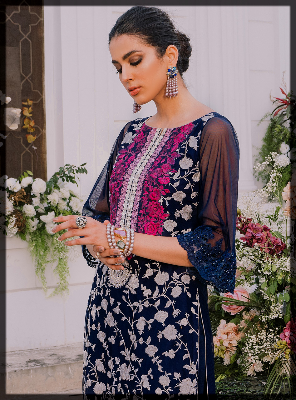 Blue Embroidered Eid Long Shirt