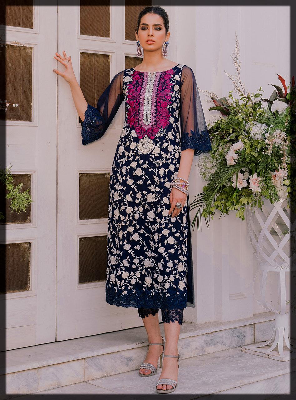 Blue Embroidered Long Shirt with Capri by Zainab Chottani