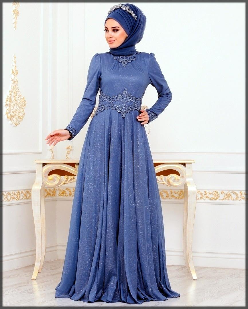 Blue stylish wedding abaya dress
