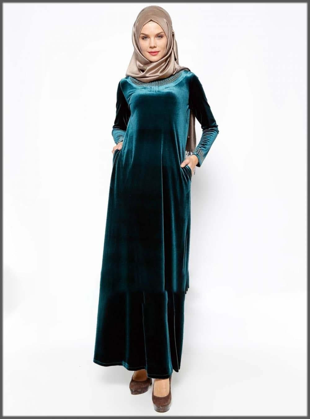 Blue velvet abaya with hijab style