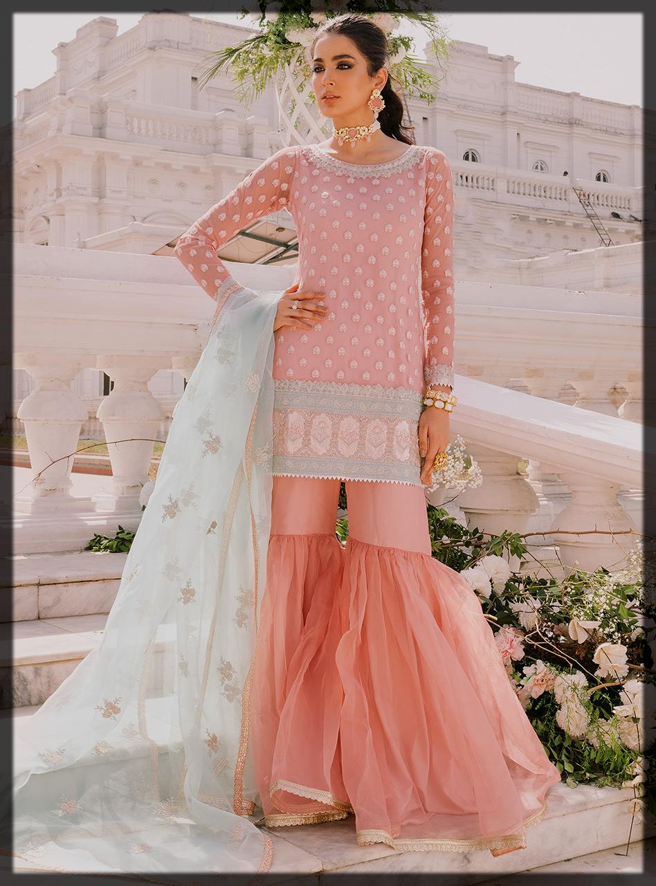 Blush Pink Short Shirt with Traditional Gharara