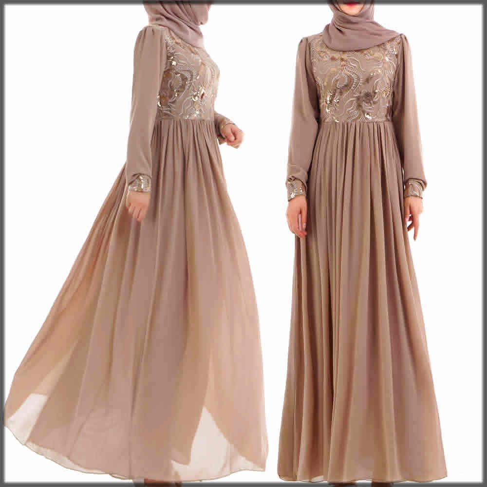 Brown wedding abaya dress