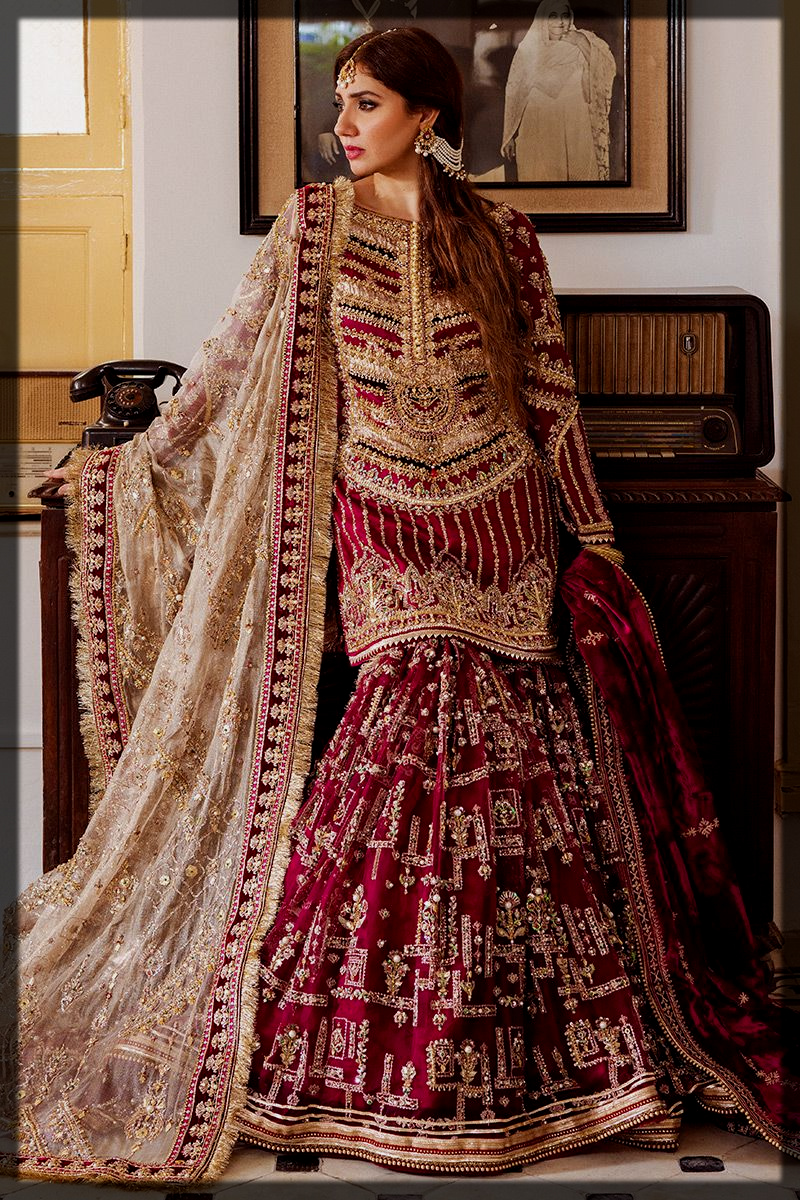 Burgundy Heavily Embellished Gharara and Shirt for Barat Bride