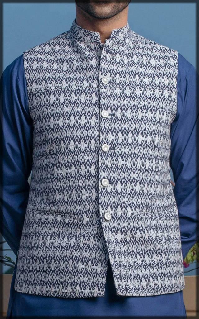 Cambridge Basic waistcoat in blue-white contrast