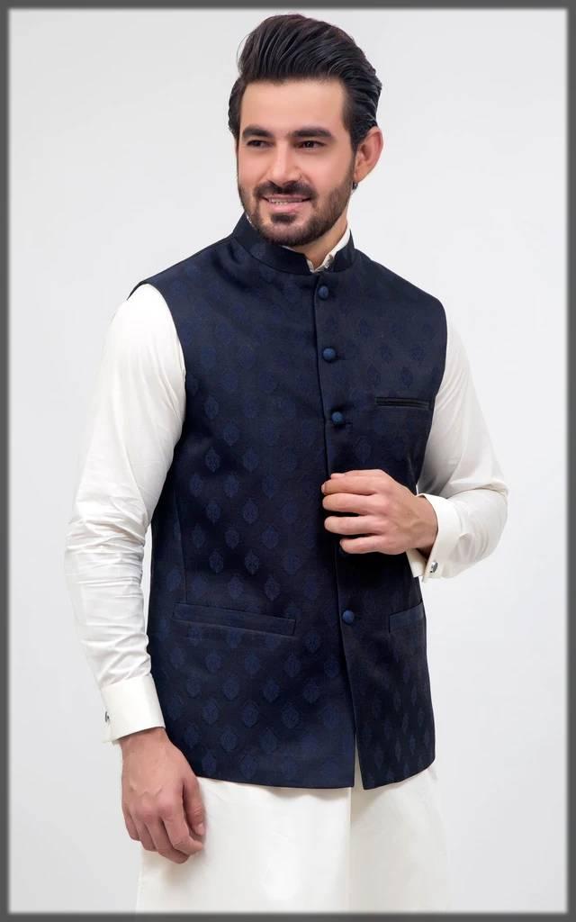 Cambridge printed fancy waistcoat for men-navy blue