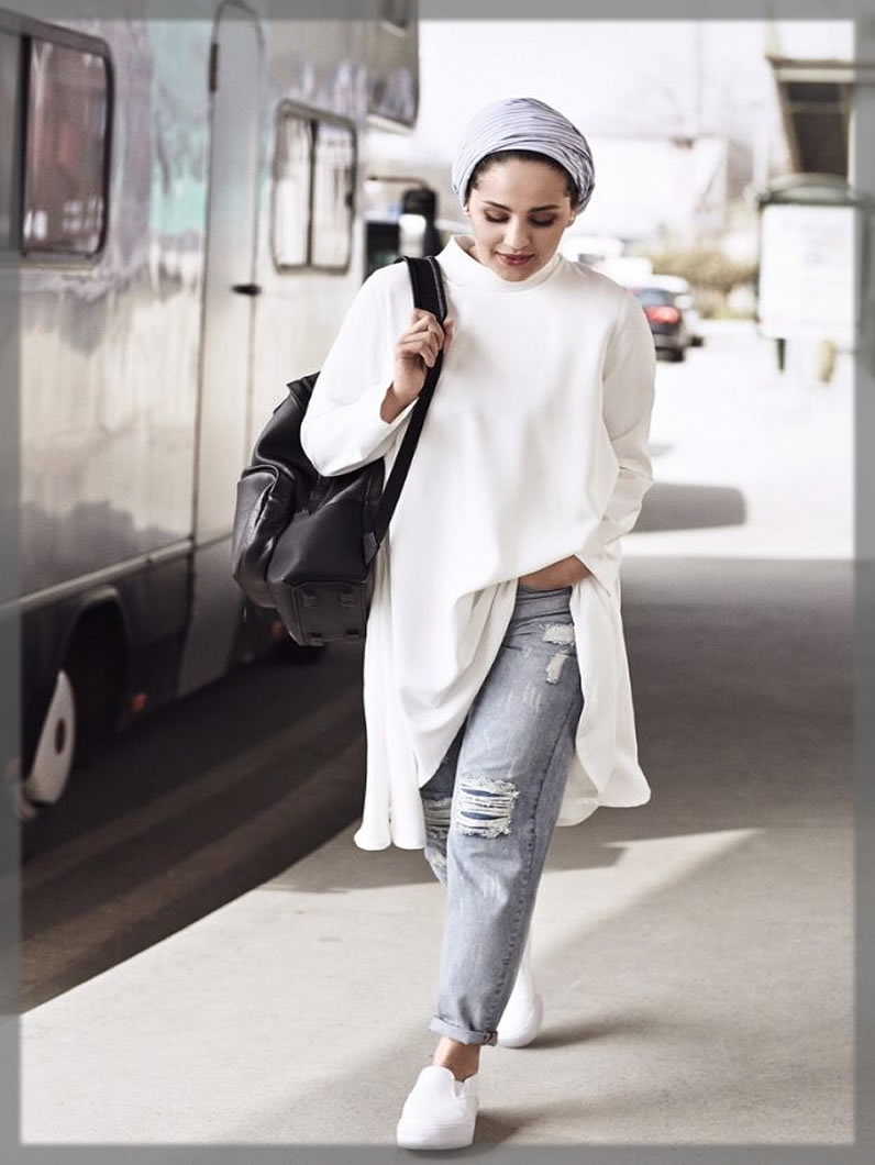 Casual Airy Hijab Styles With Jeans