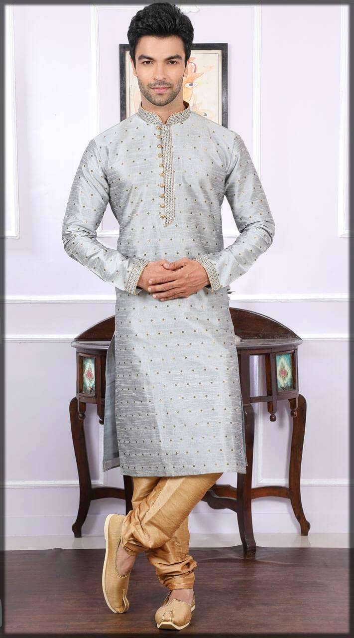 Chanderi Jacquard Silk Kurta Pajama