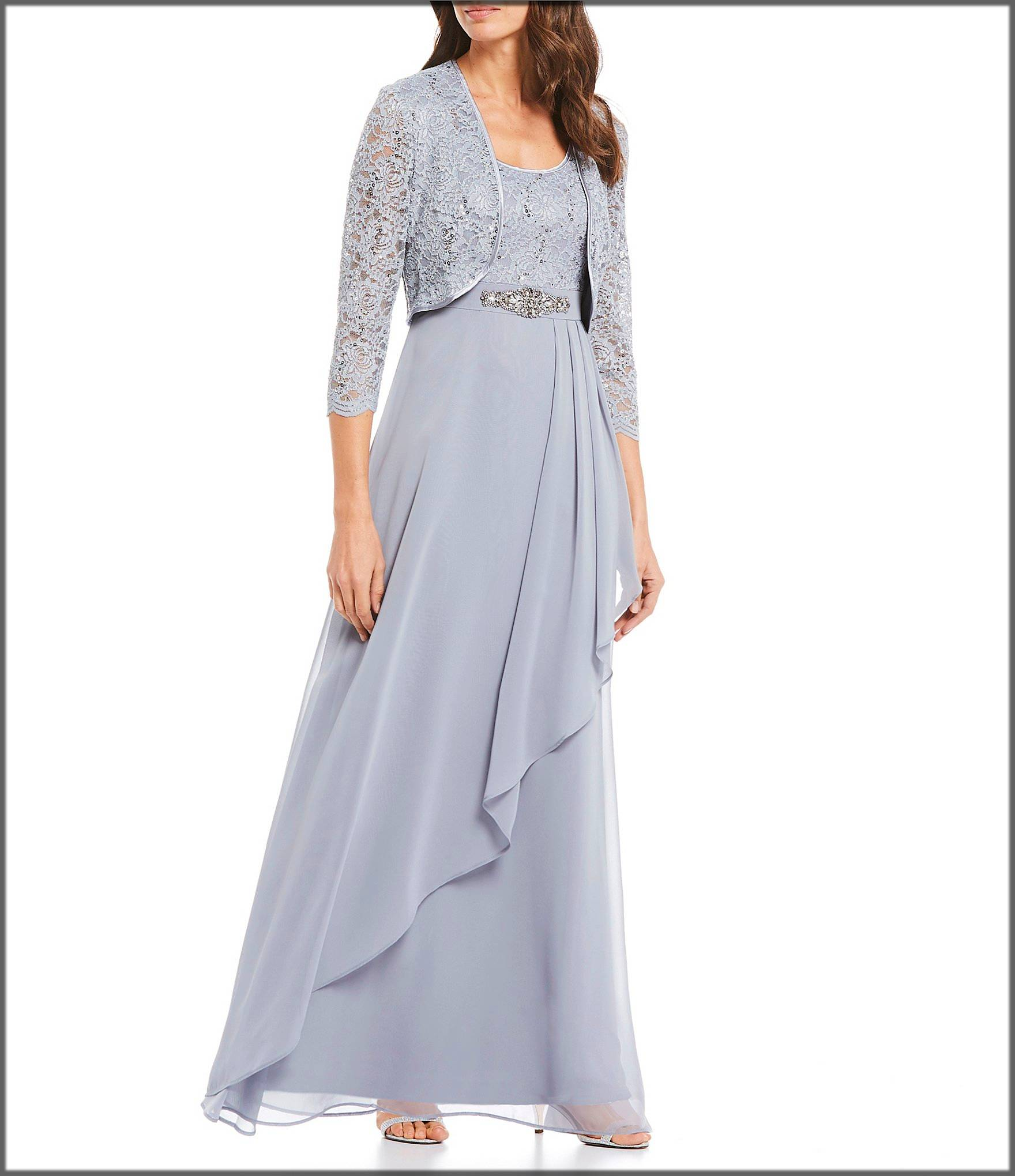 Chiffon ruffle long gown with lace jacket