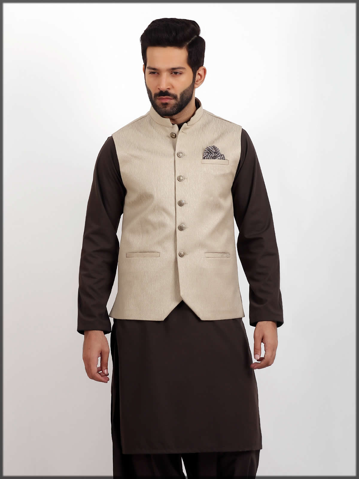 Cream colored men waistcoat by eden robe