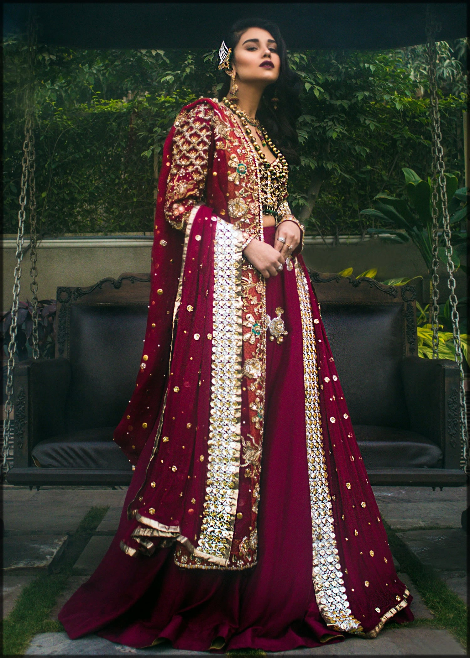 Deep pink heavily embroidered bridal dress by sadaf fawad khan