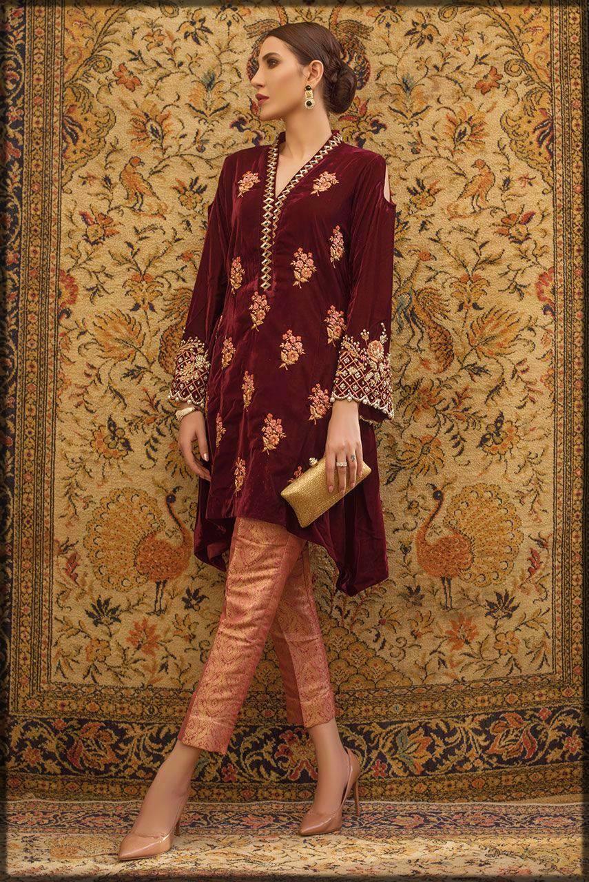 Deepak perwani luxury pret in maroon