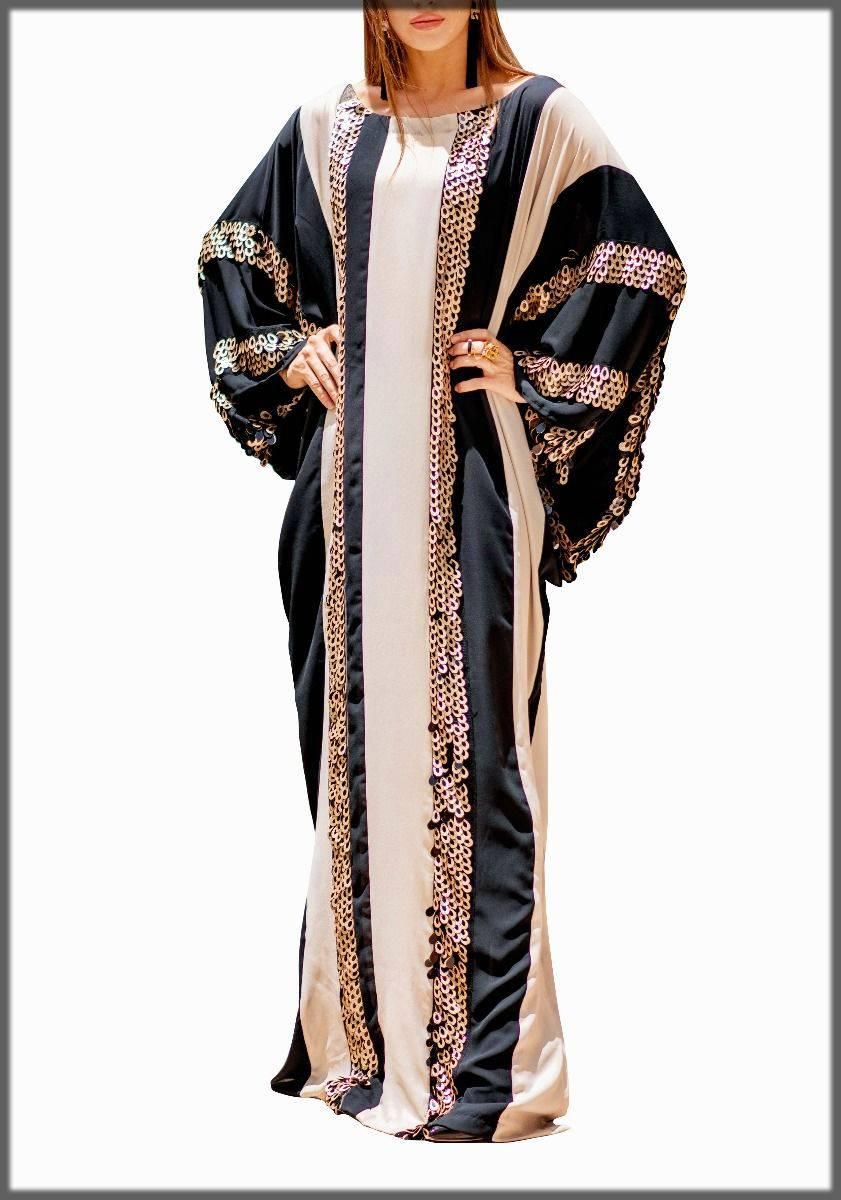 Ebony black and beige kaftan abaya