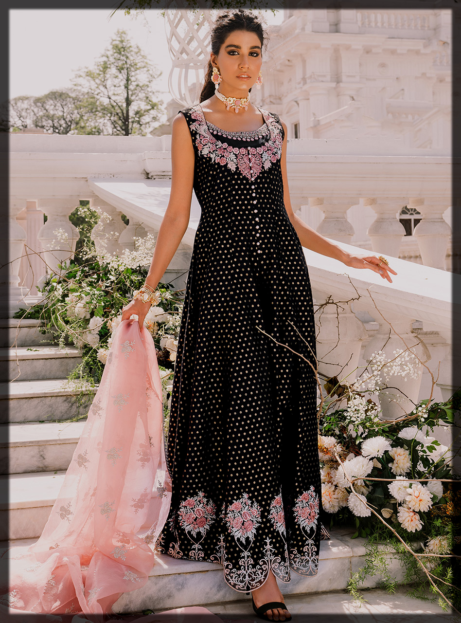 Elegant Black Front Open Gown with Black Pants and Pink Organza Dupatta