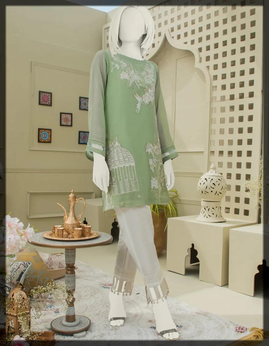 Embroidered Chiffon Shirt With Crape Innerwear
