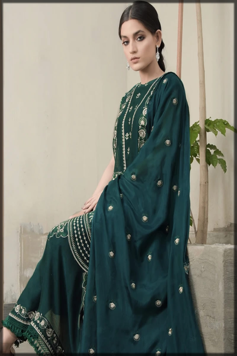 Embroidered Leaf Dust Lawn Suit