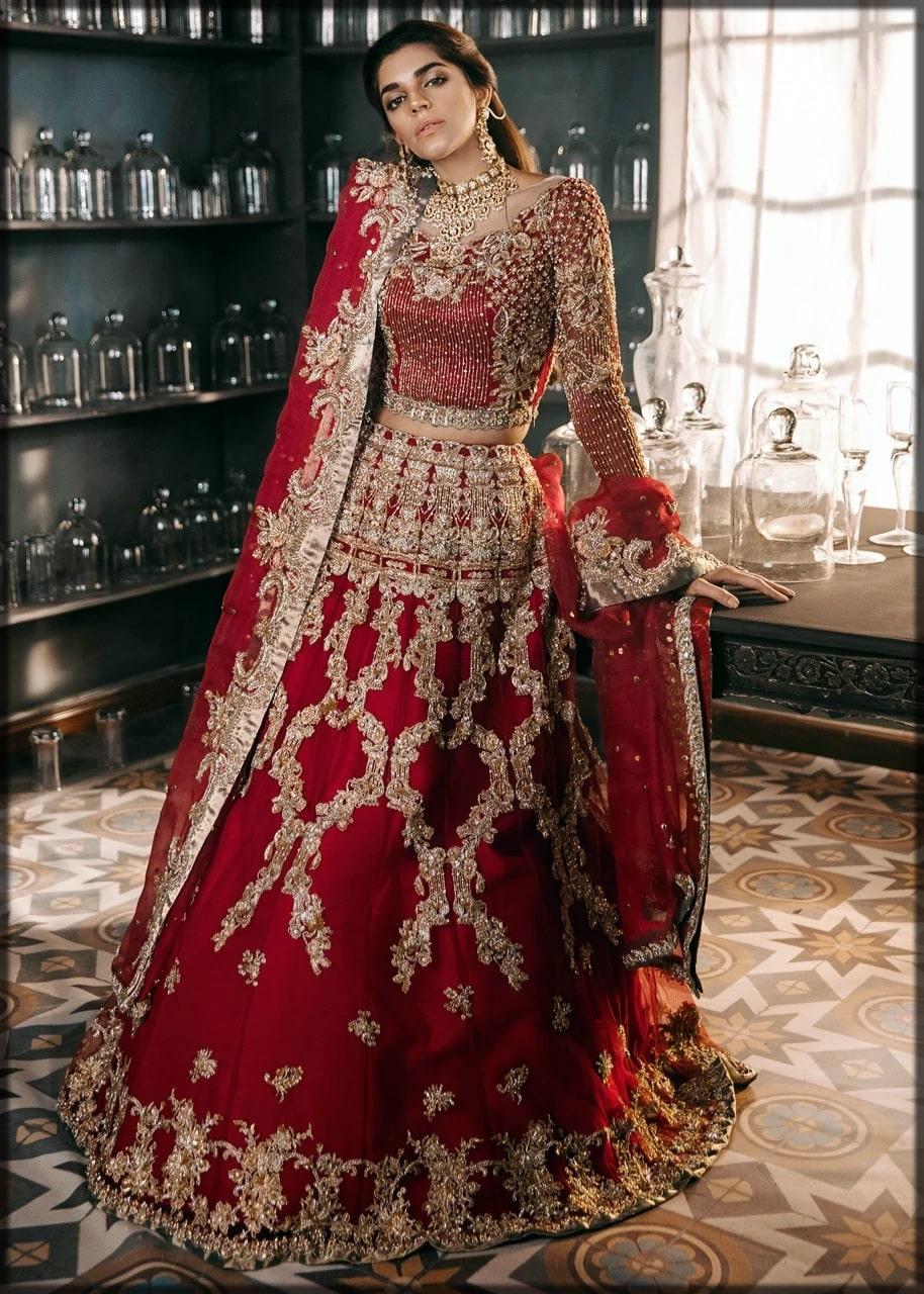 Fancy golden work bridal lehenga by sadaf fawad khan