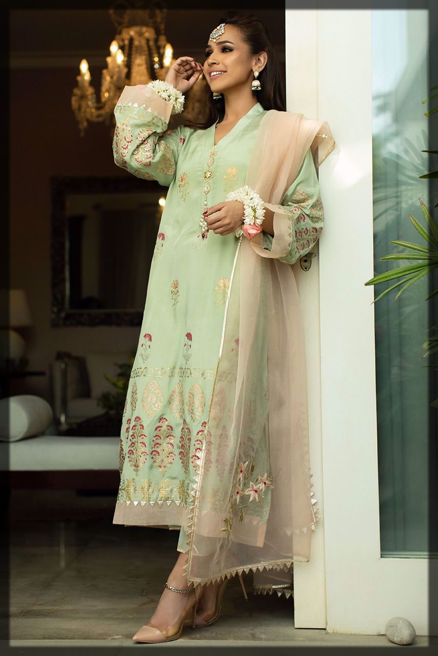 Floral Embroidered Green Silk Tunic