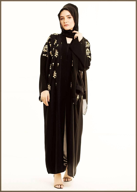 Floral Embroidered Open Abaya Design