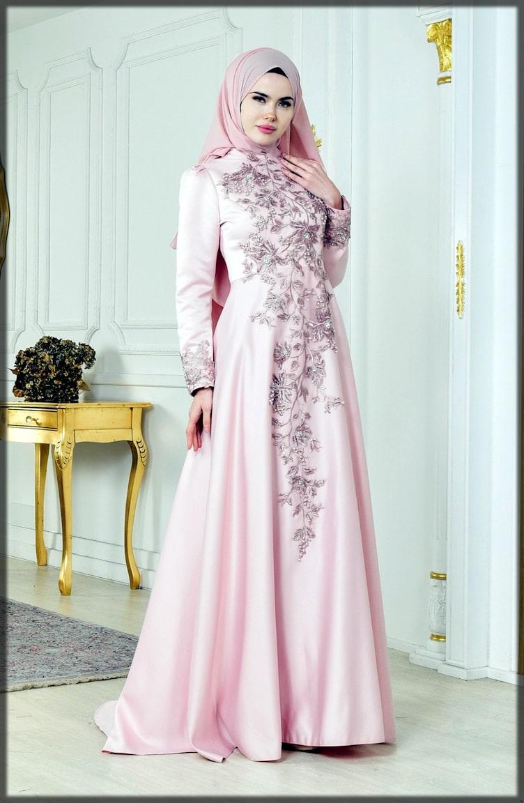 Floral pink abaya wedding dress