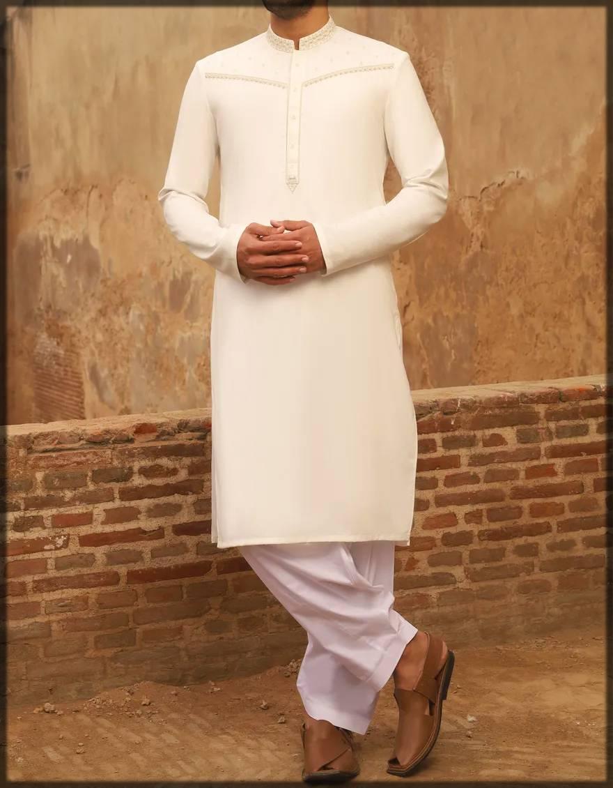 Formal wear off-white kurta for men