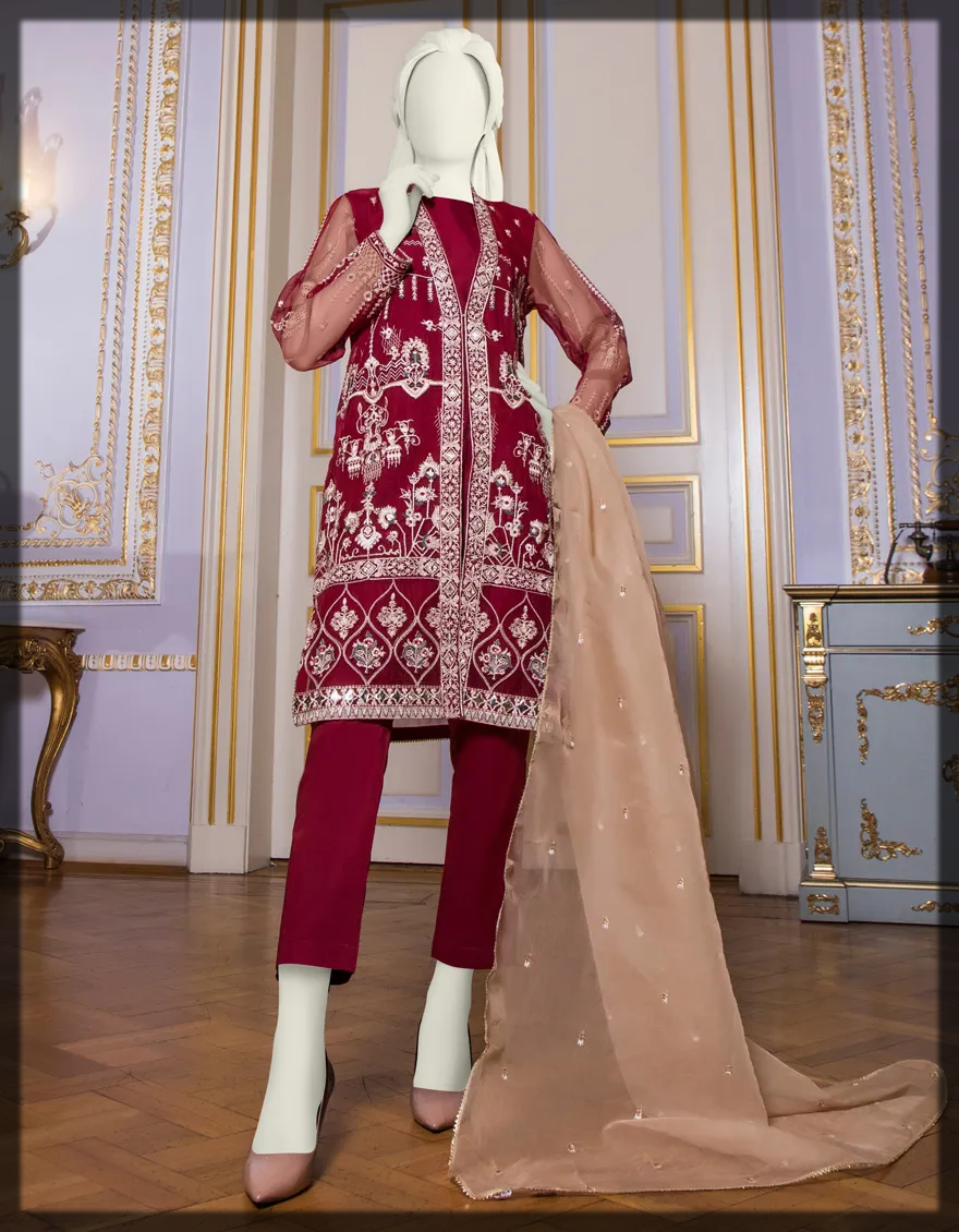 Front Open Embroidered suit for women