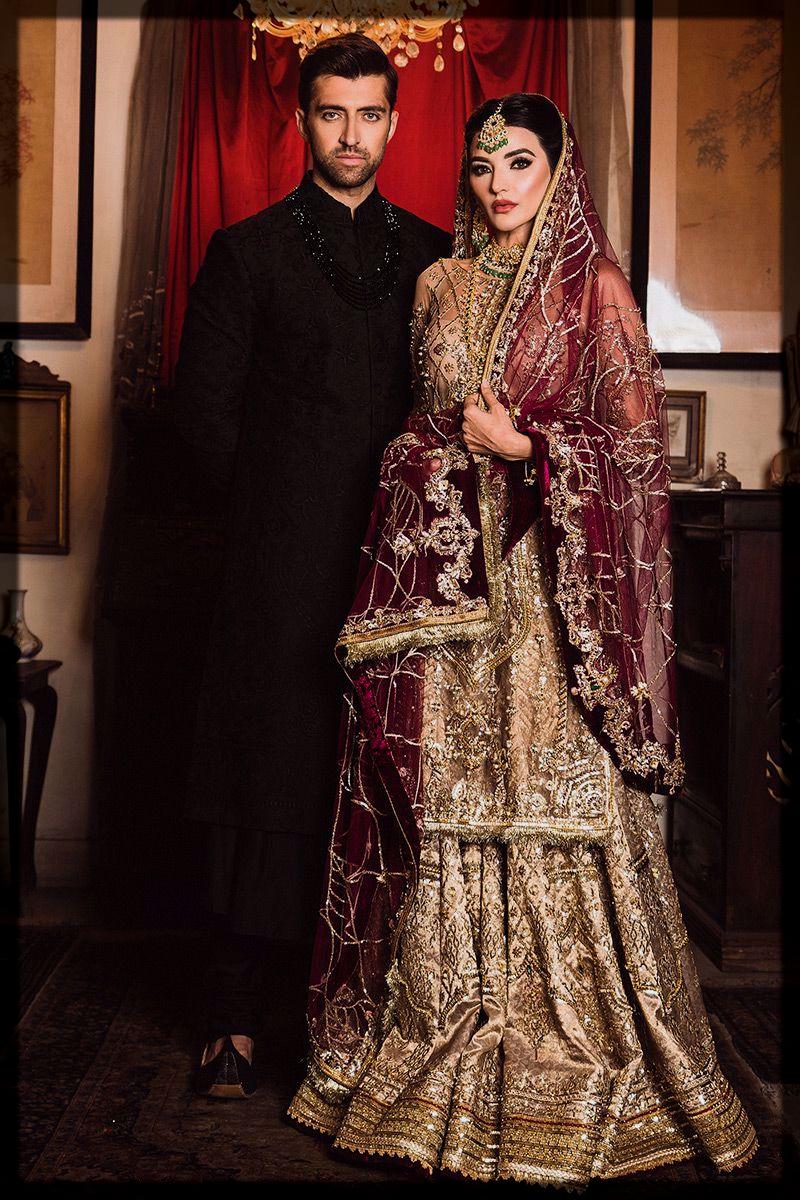 Gold Embellished Bridal Shirt and Sharara by mohsin naveed ranjha