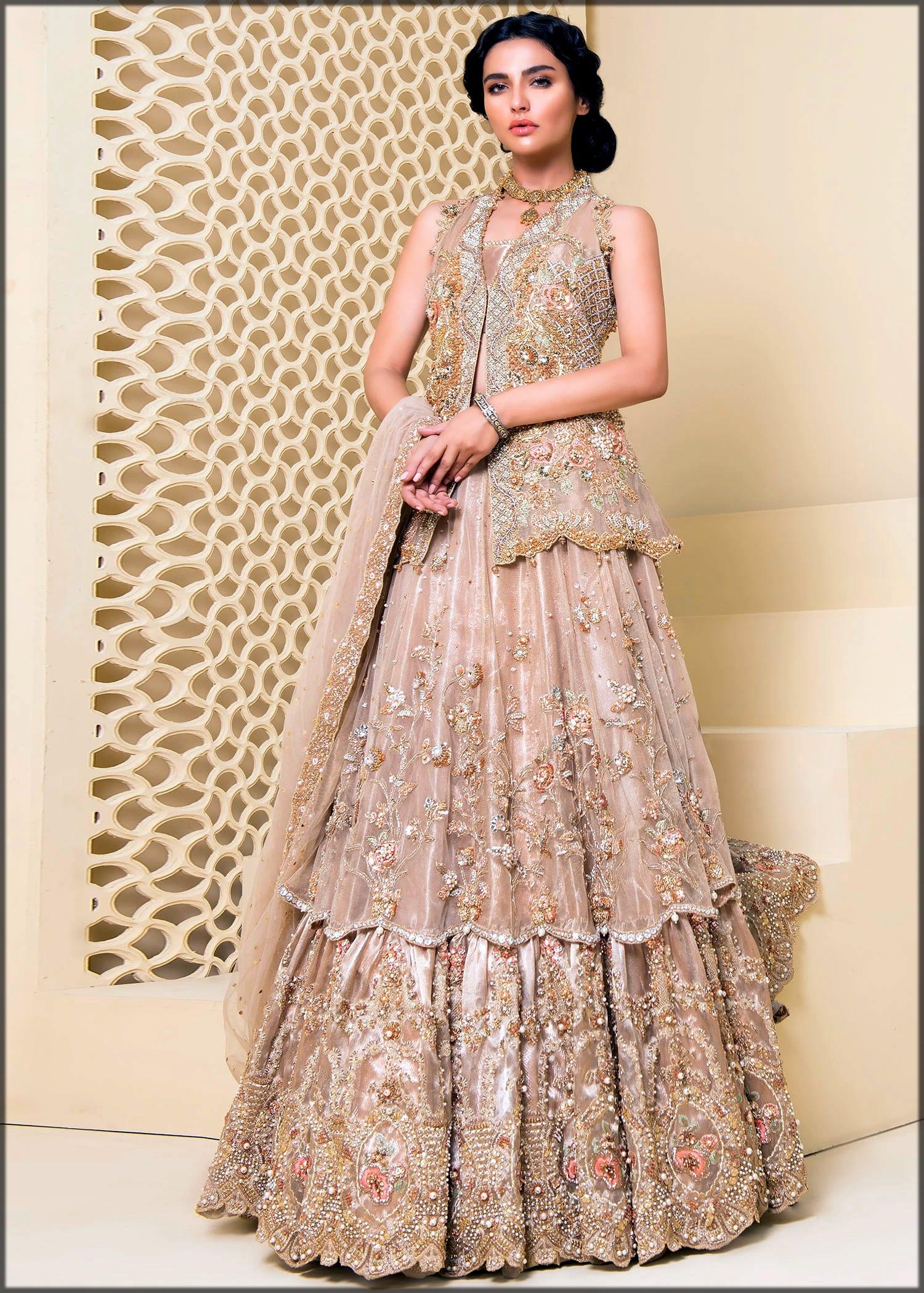 Golden embroidered bridal dress by sadaf fawad khan