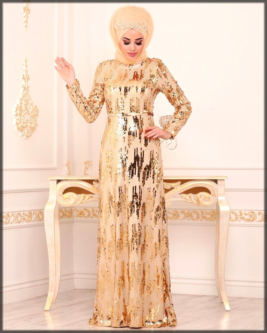 Golden shining wedding abaya dress