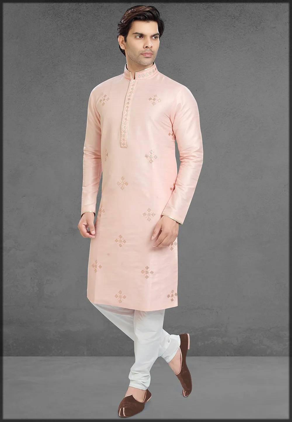 Gota Patti Art Silk Kurta Pajama In Pink