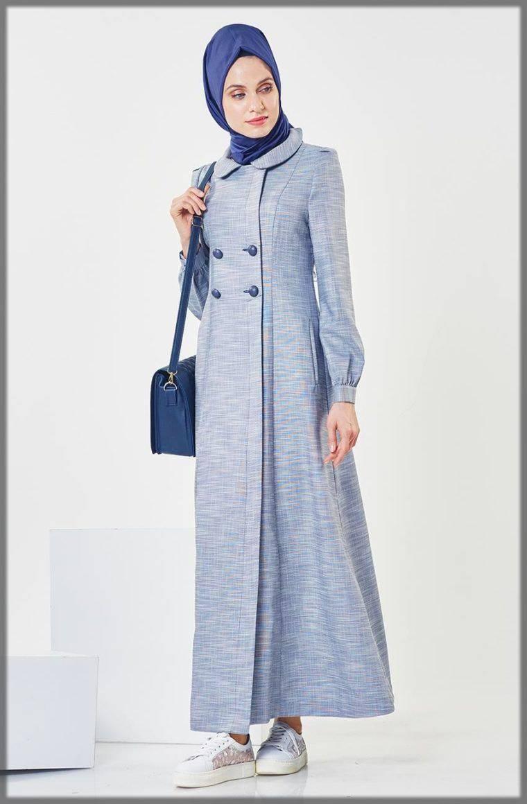 Graceful Grey Turkish Open Abaya Design