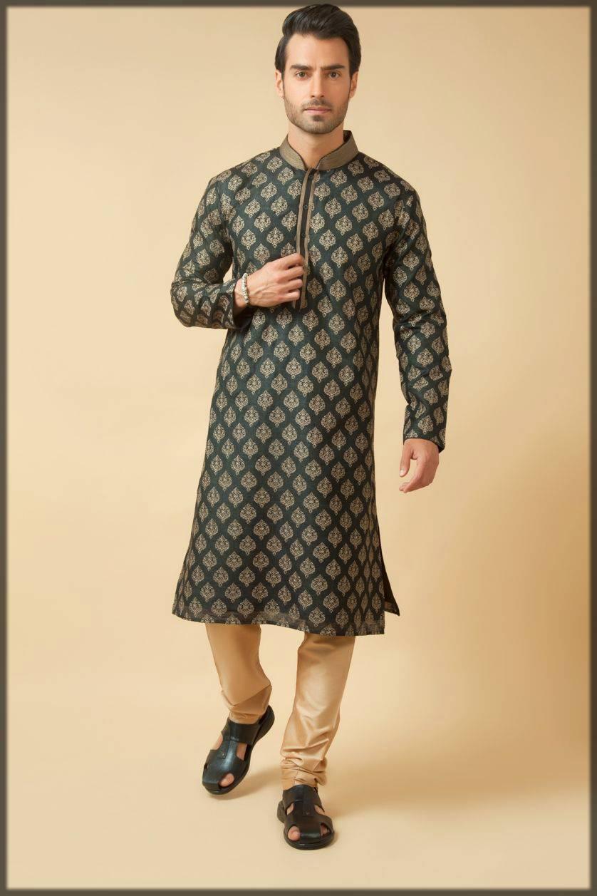 Indian Matka Silk Kurta Pajama-bottle green