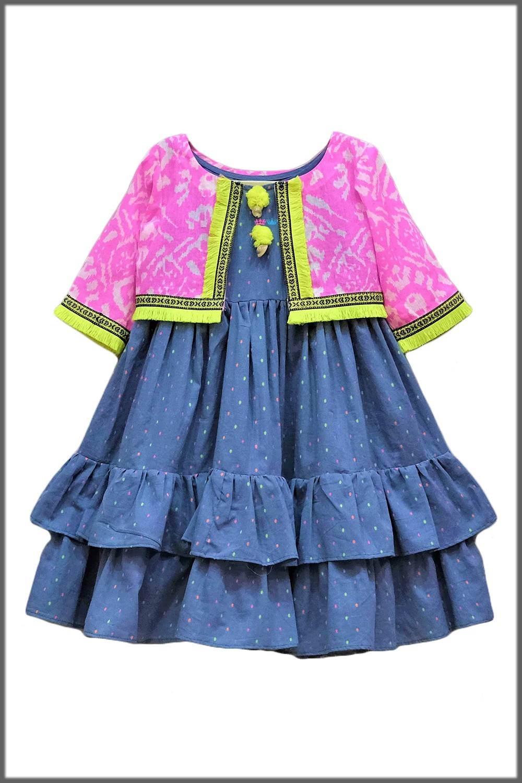 Jacket style stylish frock for baby girls