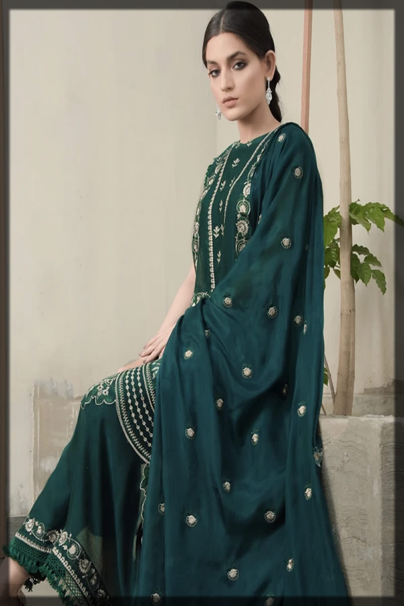 Leaf Dust Embroidered Cotton Net Suit