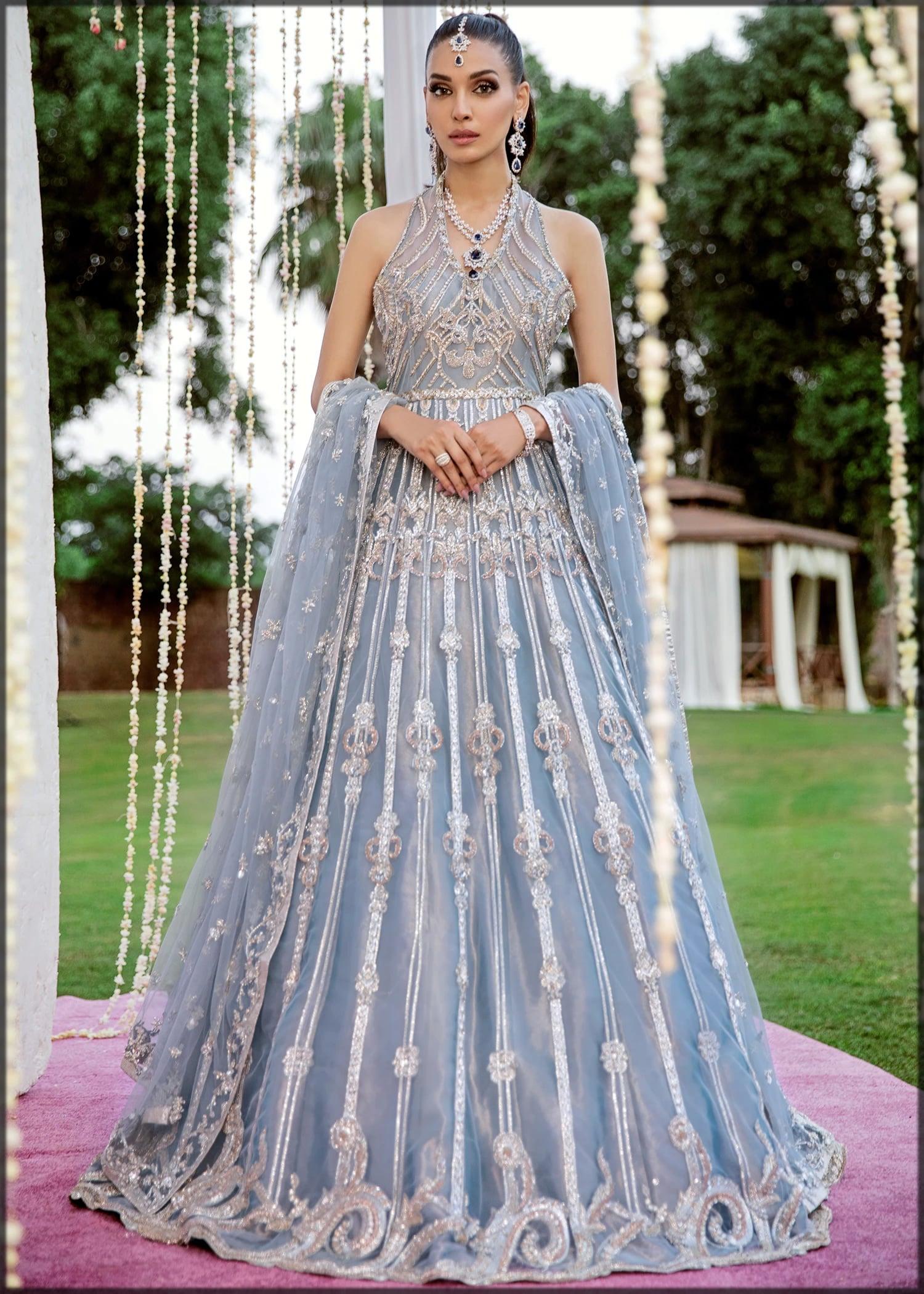 Light blue embroidered dress by sadaf fawad khan
