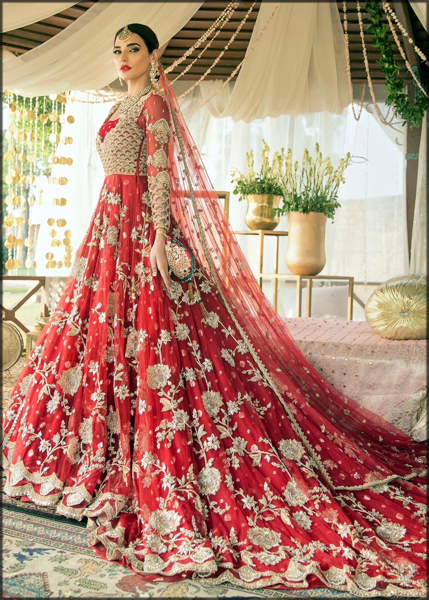 Long shirt goledn floral design for brides