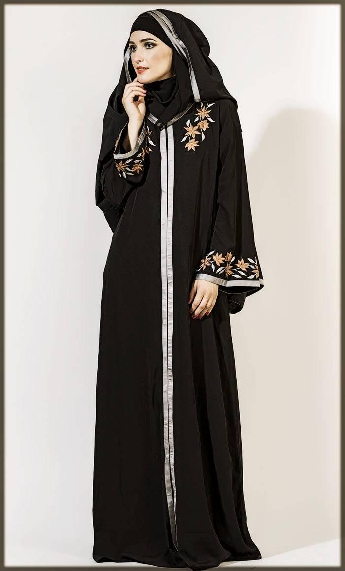 Mat Black Open Abaya