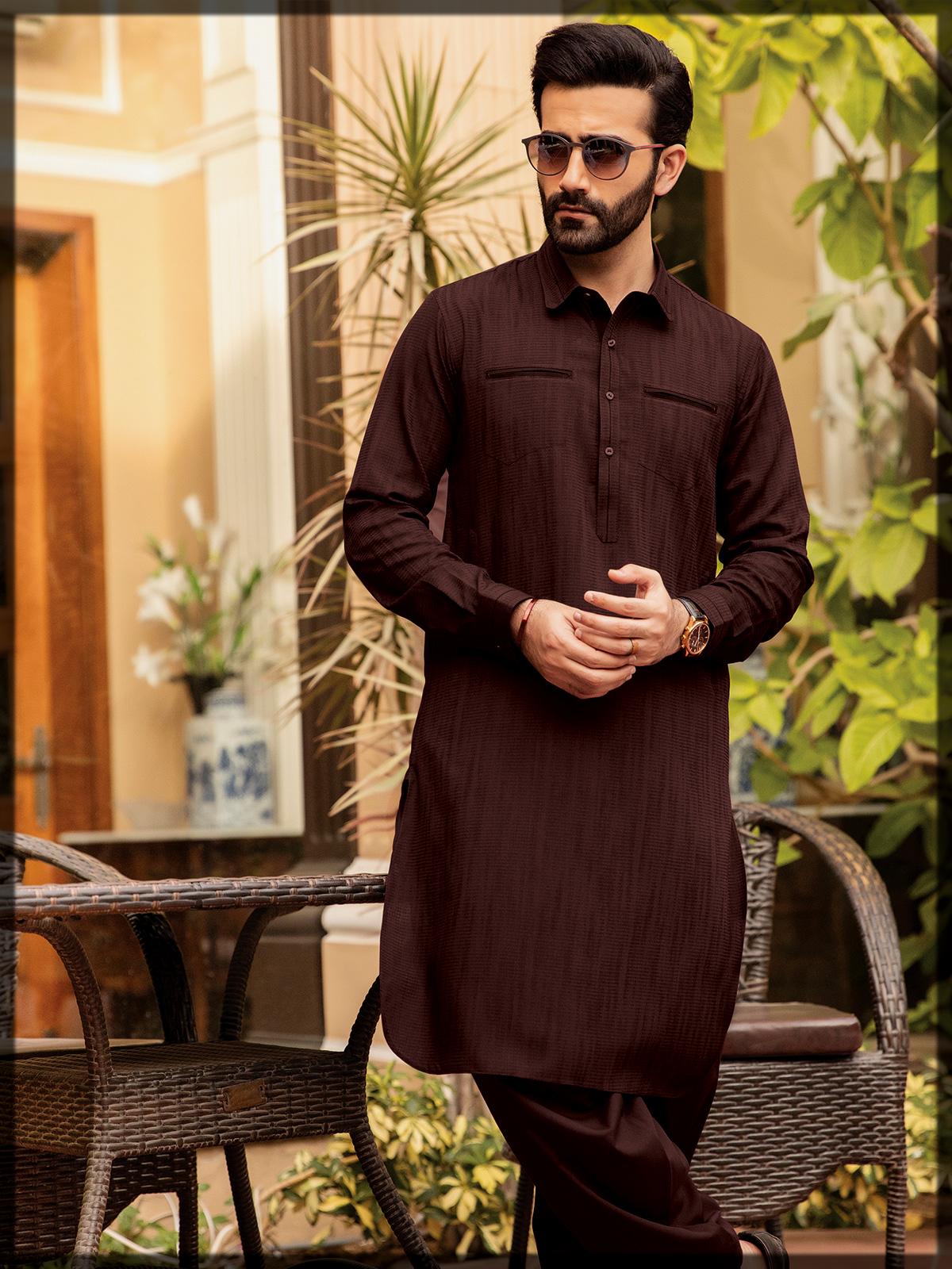 Men Unstitched Blended Suits by Edenrobe