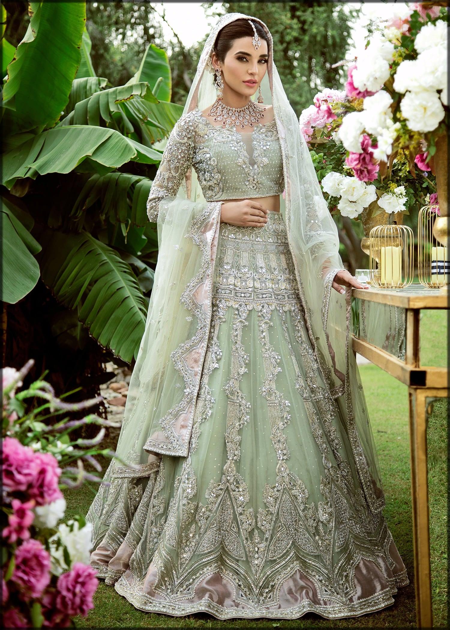 Mint bridal walima dress by sadaf fawad khan