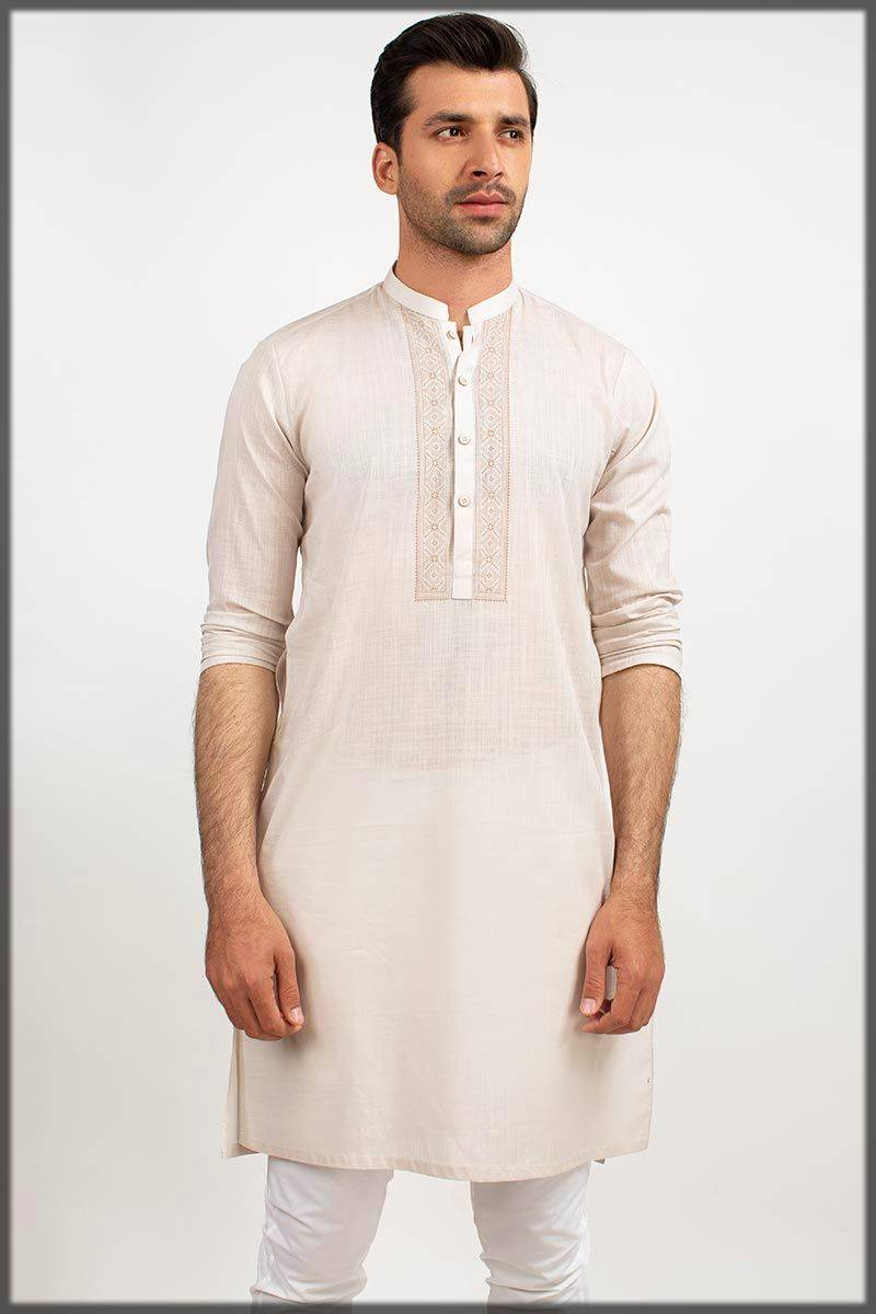 Off-whit Gul Ahmed Men Kurta Collection