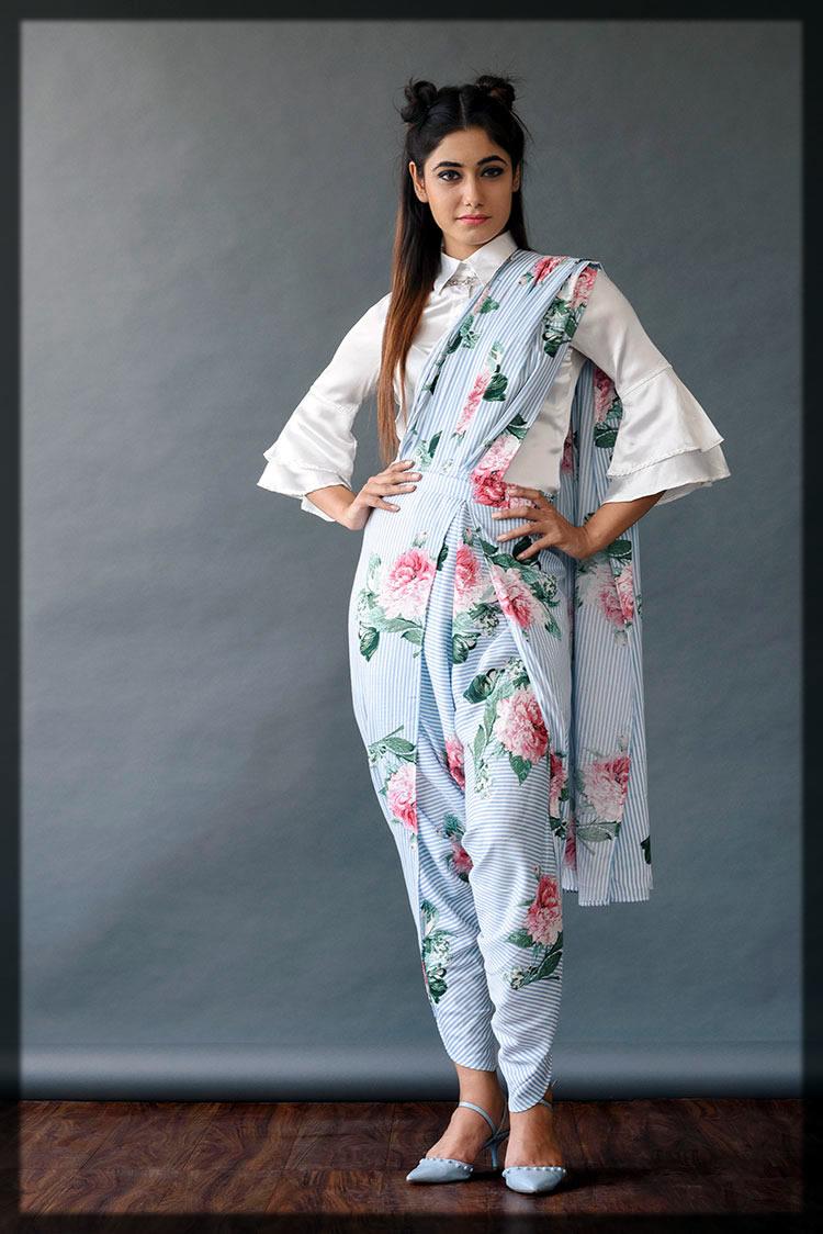 Pant Style Saree Designs