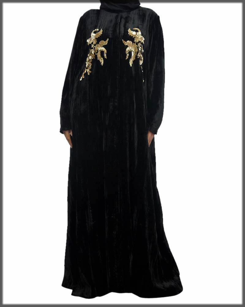 Party wear gold velvet abaya