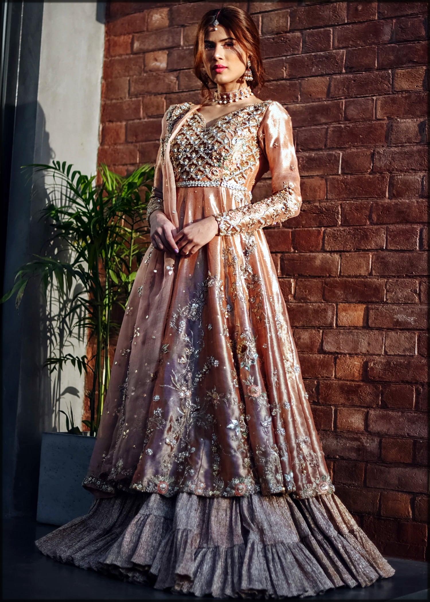 Peach color lehenga for brides by sadaf fawad khan