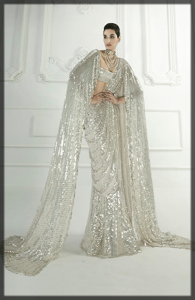 Pearl White Sequins Swathed Saree