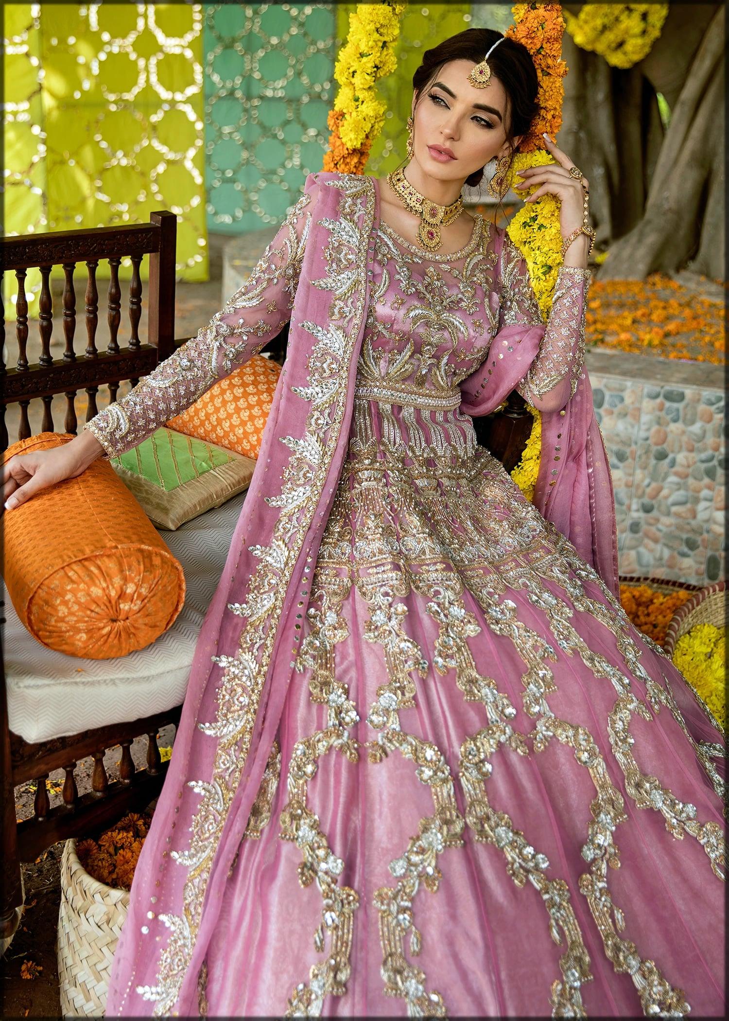 Pink embroidered dress by sadaf fawad khan