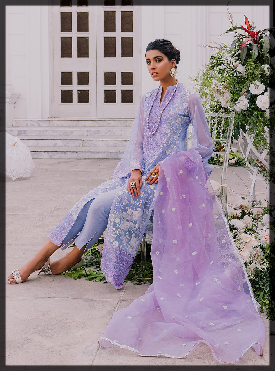 Purple Embroidered Shirt with Organza Dupatta