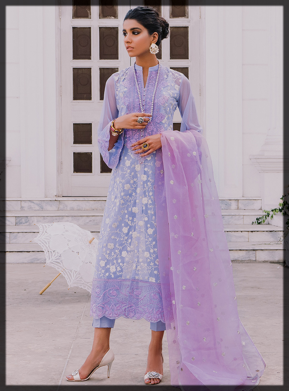 Purple Floral Jhaal Embroidered Shirt with Lilac Organza Dupatta